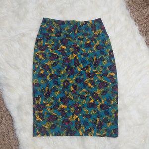 Small Lularoe Cassie Pencil Skirt Teal Gold Plum